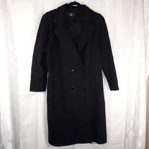 100% pure Merino wool black trench size 16p